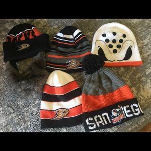 Anaheim Ducks and San Diego Gulls beanies